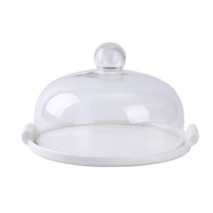 Ceramic cake plate glass cover Dessert bread fruit dessert tray store Try dish Display stand Storage tray with lid