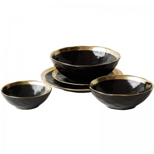 Ceramic Plate Black Gilt Tableware Home Kitchen Ceramic Bowl Gold Plate
