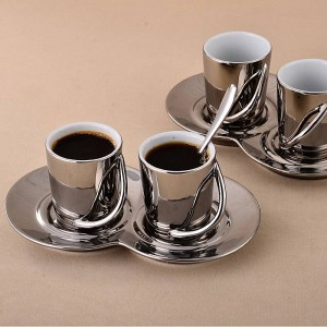 Ceramic plating coffee cup and saucer espresso coffee cup set cappuccino coffee cup and saucer fashion cup and saucer