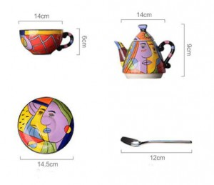 Ceramic teapot drinkware sets cup and saucer coffee tea sets hand painting art design tableware teapot
