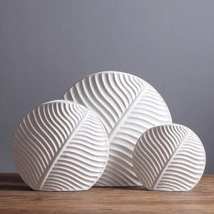 Ceramic Vase Cute Leaf Design Sample Room Solid White Flower Vases Flower Pots Planters