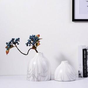 Ceramic Vase Desk Top Decorative Pots Planters Marble Texture Grain Accent Decor