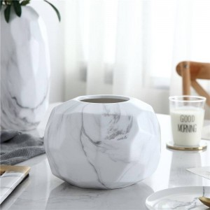 Ceramic Vase Geometric Modern Minimalist Marble Pattern Creative Flower Living Room Dining Table Soft Decoration