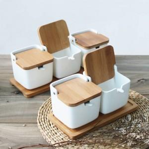 ceramics Bamboo cover Spice jar kitchen Creative Sauce cans salt sugar pepper Storage tank seasoning box