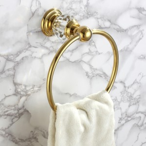 Charles Luxurious Clear Crystal Solid Brass Wall Mount Bathroom Round Towel Ring in Gold Finish