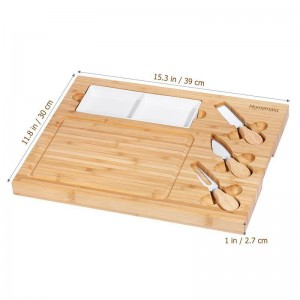 Cheese Board with Cutlery Ceramic Plate Set Charcuterie Platter Serving Tray Wooden Server for Wine Crackers Brie and Meat