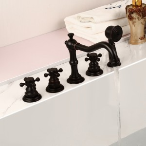 Chester Classic Antique Black Triple Cross Handles Deck Mounted Roman Tub Faucet with Hand Shower