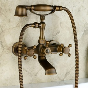 Chester Classic Style Antique Brass Wall Mount Clawfoot Tub Filler with Hand Shower Solid Brass
