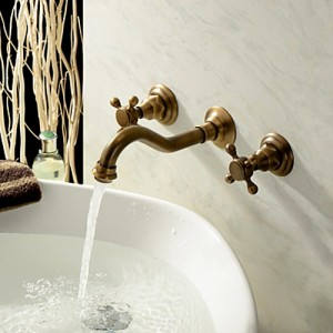 Chester Classic Wall Mount 2-Handle Antique Brass Bathroom Sink Faucet with Cross Handles
