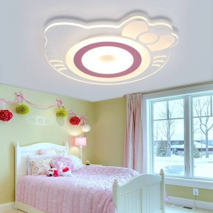 Children's Room Ceiling Lamp Girl Princess Room Creative Warm Hellokitty Cat Room Bedroom Kids Room Led Acrylic Ceiling light