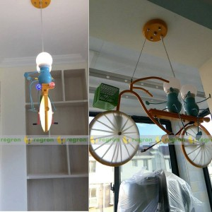 children led lights Personality bicycle child hanging lamp bedroom boy room lamp modern Pendant creative light Baby Best Gift