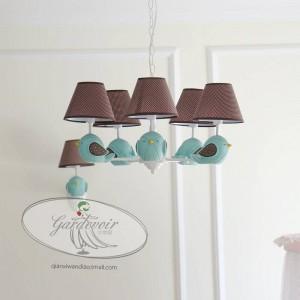 Children room chandelier lighting fabric shade E14 led kid's light fixture modern Bird Girls Bedroom hanging light