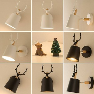 Children room novelty Deer Head wood Wall Lamp Bedside Lamp Modern wall fixtures Tv Background antlers Wall sconce Applique Led