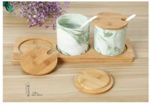 ceramic seasoning pot Kitchen Tools Gadgets Salt Sugar bowl Canister spice jar Herb Spice Tools Ceramic jar Bamboo box