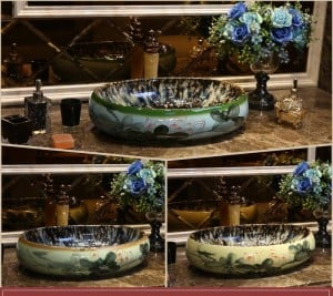 Glazed Lotus Oval Europe Style Handmade Countertop Ceramic wash basin Bathroom Basin Bathroom Sink