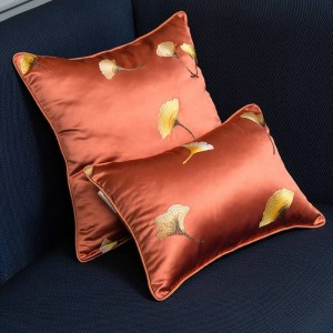 Imitation Silk Cushion Cover Embroidery Leaf Luxury Pillow Cover Throw Pillows Christmas Cojines Decorativos Para Sofa