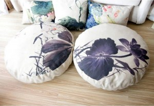 ink lotus Lotus Cushion linen circular queen Futon cushion Seat (thick)tatami Mat yoga meditation cushion 80 * 80 * 15cm