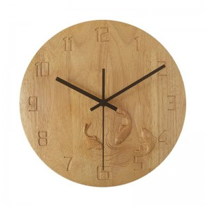 solid wood creative wall clock Hand carved carp bedroom Wooden wall clock mute living room study clocks