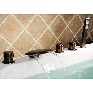 Clam Oil Rubbed Bronze Deck Mounted Roman Tub Waterfall Faucet & Hand Shower