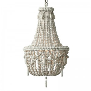 Classic Farmhouse Distressed Wood Beaded Basket 3-Light Chandelier in Antique White
