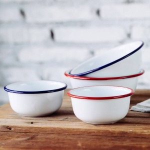 Classic Japanese Style Home Children's Bowls Thick Porcelain Enameled Bowl Salad Bowl Popcorn Fruit Snack Soup Bowl Tableware