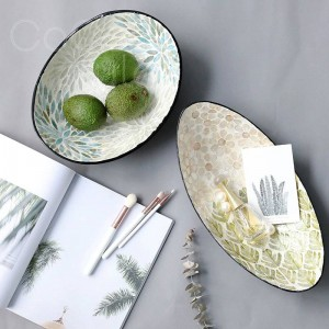 InsFashion chic style elliptical boat shaped shell tray with black edge for fashion european style home decor