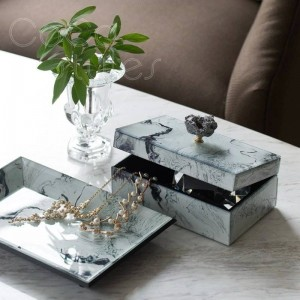 InsFashion creative jewelry storage tray and box with 3D print marble pattern for high-class russian home decor