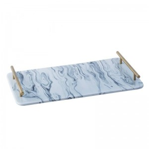 InsFashion delicate pink marble pattern ceramic tray with gold handle for aesthetic iceland's style home decor