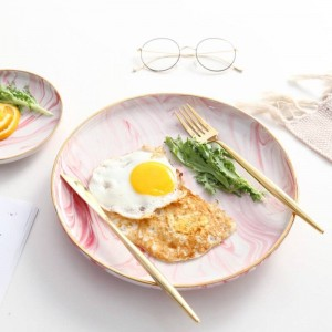 InsFashion fantastic pink marble pattern ceramic breakfast tray with gold edge for romantic bohemia style restaurant