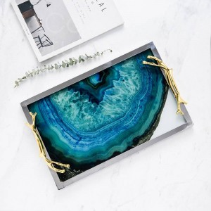 InsFashion high-class rectangle metal and glass serving tray with agate pattern for five-star hotel sundries storage