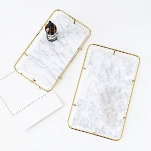 InsFashion high-class white and black marble serving tray with gold frame for luxe european style hotel storage decor