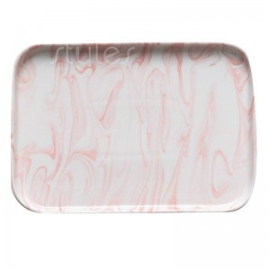 InsFashion high-end marble pattern pink and black ceramic serving tray for nordic style home and restaurant decor