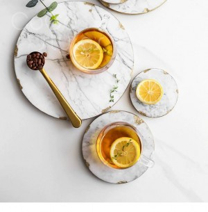 InsFashion high-end round natural marble tray and coaster for nordic style home decor