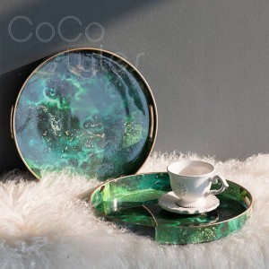 InsFashion luxe round PVC tray with creative agate pattern 3D print for clever designer and partysu style home decor