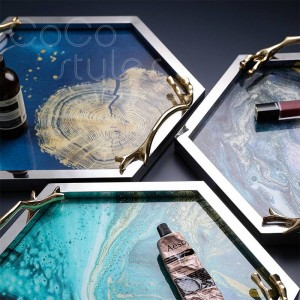 InsFashion luxury hot hexagonal metal and glass tray with abstract pattern for artistic style home decor christmas