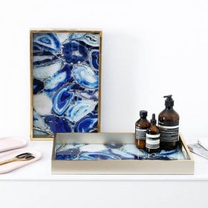 InsFashion luxury wooden glass serving tray with agate pattern for nordic style home decor and five-star hotel decor