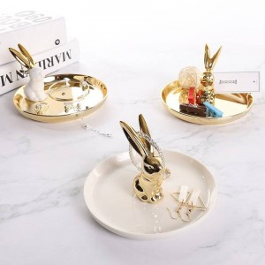 InsFashion super luxury round rabbit ceramic jewelry dish for girl friend and wedding party take away gift sets