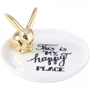 InsFashion wonderful round rabbit ceramic jewelry dish with black text for boutique hot sale products