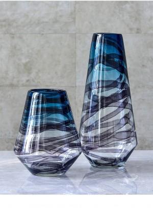 Colored Glass Vase Home Decoration Dry Vase American Transparent Vase Living Room Flower Tv Cabinet Decoration