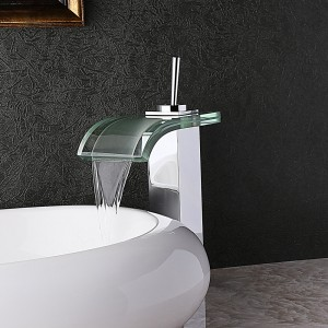 Contemporary Co-crystal Single Lever Waterfall Bathroom Vessel Sink Faucet Curved Glass Spout Polished Chrome