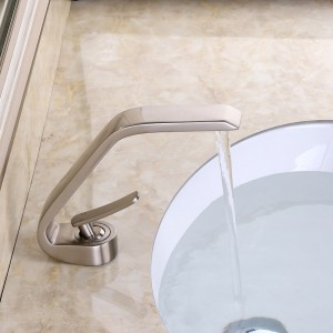 Contemporary Deck Mount Single Handle One Hole Solid Brass Bathroom Sink Faucet in Brushed Nickel