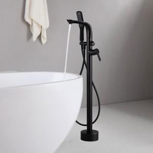 Contemporary Freestanding Tub Filler Faucet Floor Mount with Handheld Shower Solid Brass Matte Black