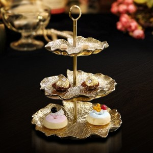Contemporary Golden Lotus Leaf Tiered Cake Stand with 2-Tier/3-Tier Ceramic Lily Pad Serving Tray & Metal Stand