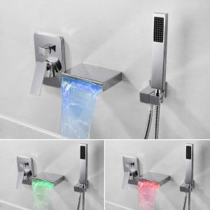 Contemporary Polished Chrome / Matte Black Wall-Mount LED Waterfall Bathtub Filler Faucet with Hand Shower Solid Brass