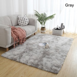 Contemporary Soft Polyester Shaggy Floor Mat Rectangular Washable Area Rug 3 Sizes in Brown/Gray/Gradient Gray