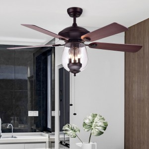 Contemporary Stylish 52'' Pull Chain Glass Shade 4 Wood Blade 3-Light Ceiling Fan in Oil Rubbed Bronze