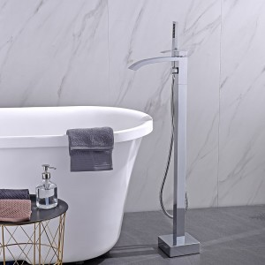 Contemporay Freestanding Single Handle Tub Filler Faucet with Handheld Shower cUPC Certified Solid Brass in Brushed Nickel / Chrome
