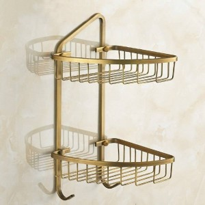 Copper Antique Fashion Double Layer Bathroom Double Layer Basket Shelf