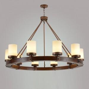 Cora Rustic Round Wood Frame Beige Cylindrical Glass Shade 10-Light Chandelier Bronze