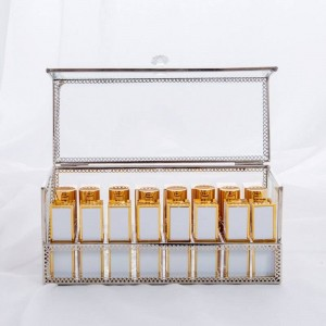 Cosmetic Lipstick Storage Box Gold Desktop Box Storage Dustproof Mirror Transparent Cosmetic Storage Box